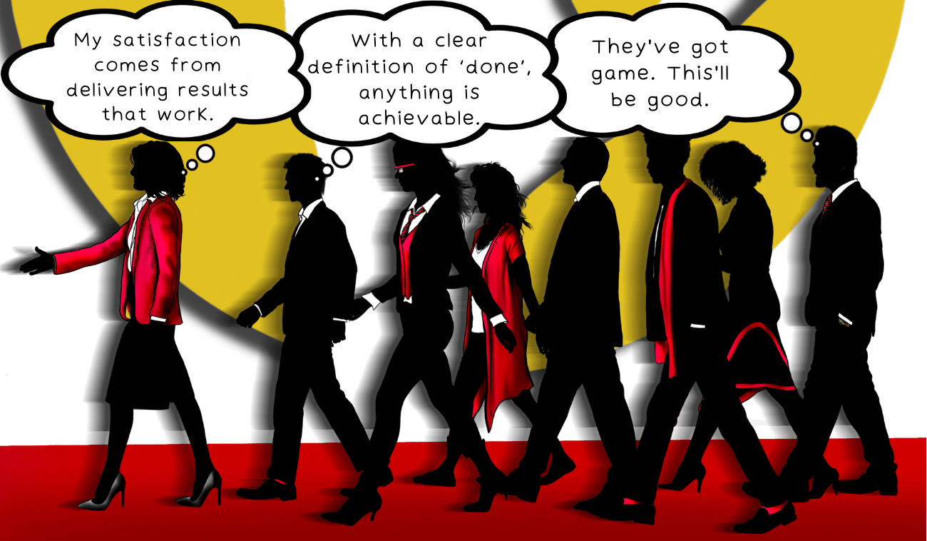 Executives and consultants meet